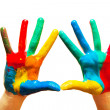 Painted hands, colorful fun. Isolated — Stock Photo
