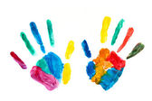 Hands painted, stamped on paper, colorful fun — Stock Photo