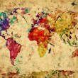 Vintage world map. Colorful paint, watercolor on grunge, old pap — Stok Fotoğraf #25103861