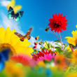 Sunny garden of flowers and butterflies - Stock Photo