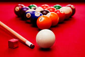 Billards pool game. Cue ball, cue color balls in triangle, chalk — Zdjęcie stockowe