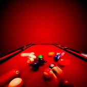 Billards pool game. Breaking the color ball from triangle — 图库照片