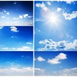 Set of beautiful blue sunny skies — Stock Photo