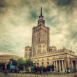 The Palace of Culture and Science, Warsaw, Poland. Retro, vintage — Stock Photo