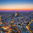 Paris, France at sunset. Aerial view on landmarks — Stock Photo #26991959