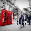 Stock Photo: Business life concept in London, the UK. Red phone booth