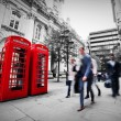 Business life concept in London, the UK. Red phone booth — Stock Photo