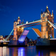 Tower Bridge in London, the UK at night — Stock Photo