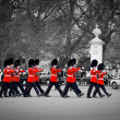 LONDON - MAY 17: British Royal guards march and perform the Changing of the Guard in Buckingham Palace — Stock Photo