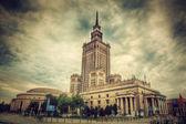 El palacio de la cultura y ciencia, varsovia, polonia. retro, vintage — Foto de Stock