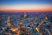 Paris, France at sunset. Aerial view on landmarks — Stock Photo