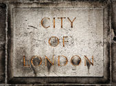 Old grunge stone board with City of London text — Stock Photo