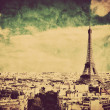 Eiffel Tower in Paris, France. Vintage, retro style — Stock Photo #27497261