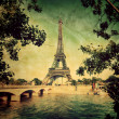Eiffel Tower in Paris, France. Vintage, retro style — Stock Photo #27501117