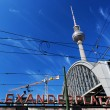 Alexanderplatz sign and Television tower. Berlin, Germany — Stock Photo #30867671