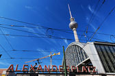 Alexanderplatz sign and Television tower. Berlin, Germany — ストック写真