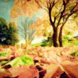 Painting of autumn, fall landscape in park — ストック写真