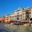 Venice Grand Canal and gondola small harbor — Stock Photo