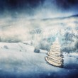 Christmas tree glowing on winter vintage background — Stock Photo