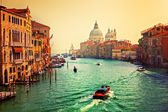Venice, Italy. Grand Canal and Basilica Santa Maria della Salute at sunset — Stock Photo