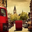 Busy street of London, England, UK. Red buses, Big Ben — Foto Stock #35477315