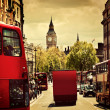 Stock Photo: Busy street of London, England, the UK. Red buses, Big Ben