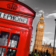 Red telephone booth and Big Ben in London, England, the UK — Stock Photo