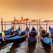 Venice, Italy. Gondolas on Grand Canal at sunset — Zdjęcie stockowe #35477481