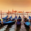 Venice, Italy. Gondolas on Grand Canal at sunset — Stock Photo