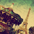Eiffel Tower and vintage carousel, Paris, France — Stock Photo