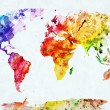 Stock Photo: watercolor world map