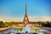 Eiffel Tower and fountain, Paris, France — Stock Photo