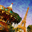 Eiffel Tower and vintage carousel, Paris, France — Stock Photo #36827495