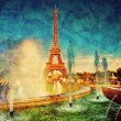 Stock Photo: Eiffel Tower and fountain, Paris, France. Vintage
