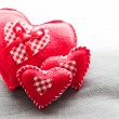 Foto de Stock  : Handmade plush red hearts