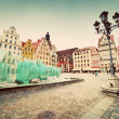 Foto de Stock  : Wroclaw, Poland. market square with famous fountain