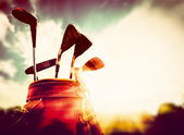 Golf clubs in a leather baggage in vintage, retro style at sunset — Stock Photo