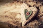 Vintage handmade plush heart — Stock Photo