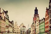 Wroclaw, Poland in Silesia region. The market square — Stock Photo