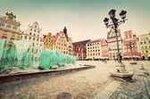 Wroclaw, Polen. torget med den berömda fontänen — Stockfoto