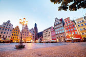 Wroclaw, Poland in Silesia region. The market square at the evening — Stock Photo