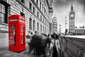 Red telephone booth and Big Ben — Stock Photo