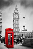 Red telephone booth and Big Ben — Foto de Stock