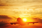 Airplane taking off at sunset — Stock Photo