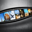 Film strip with colorful, vibrant photographs on grunge wall. Travel theme — Stock Photo #48611109