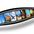Film strip with colorful, vibrant photographs on white background. Travel theme — Stock Photo #48612207