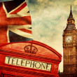 Red phone booth, Big Ben, the Union Jack flag — Stock Photo #48613465