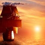 Ancient pirate ship sailing — Stock Photo #48613523