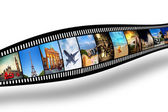 Film strip with colorful, vibrant photographs on white background. Travel theme — Stok fotoğraf