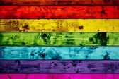 Grunge colorful wood planks background in rainbow colors. — Stock Photo